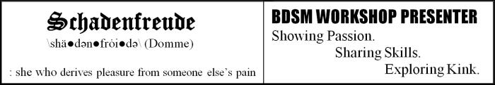 Schadenfreude BDSM Workshop Presenter
